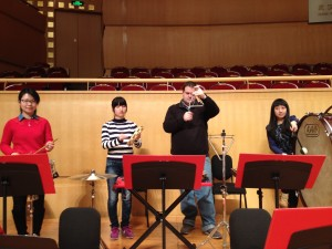 Wuhan Philharmonic Percussion section - Xu Yun, Yuan Na, Chris Tusa, and Ma Jing
