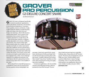 G3 Snare Drum Gets Rave Review !